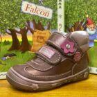 Falcon átmeneti bőrcipő két tépőzárral; matt és gyöngyház barna, virágos, 19-26.