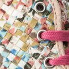 Primigi magasszárú vászon tornacipő bőr lépésbetéttel, tarkabarka, négyzetrácsos, orrán strasszokkal, 28-35.