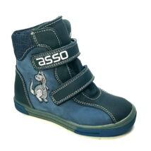ASSO vízálló bundás cipő, kék, dinós, 25-30.