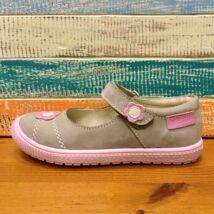 Falcon nyitott lányka cipő; drapp-rózsaszín, hasított bőr, virágos, 27-31.
