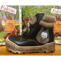 Falcon bundás gyerekcipő, fekete-barna, baglyos, 19-26.