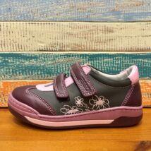 ASSO bőr gyerekcipő két tépőzárral, bőr béléssel; padlizsán-rózsaszín-fekete, virágos, 26-30.