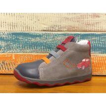 Primigi átmeneti bőrcipő elasztikus fűzővel és cipzárral, szürke-kék, autós, 20-24.