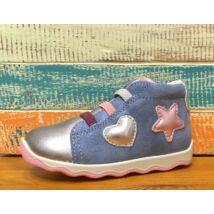 Primigi átmeneti bőrcipő elasztikus fűzővel és cipzárral, farmerkék-ezüst, 20-24.