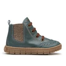 Primigi átmeneti bőrcipő; fűzős, oldalán cipzárral; sötétzöld-barna, 25.