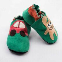 Nyúl autóval, puhatalpú cipő, zöld.