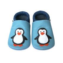 Puhatalpú bőr bébicipő, kék, pingvines.
