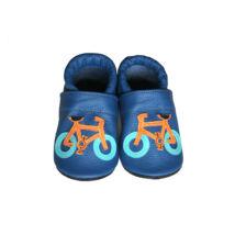Puhatalpú bőr bébicipő, kék, biciklis.