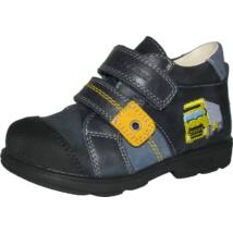 Szamos supinált átmeneti cipő bőr béléssel, sötétkék-sárga, kamionos, 25-30.