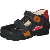 Szamos supinált nyitott bőrcipő, két tépőzárral, sötétkék-piros, sportautós, 25-30.