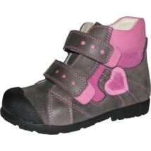 Szamos supinált, magasszárú gyerekcipő bőr béléssel, szürke-pink, szívecskés, 31-35.