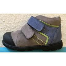 Szamos supinált átmeneti cipő bőr béléssel; szürke-kék-zöld, 31-35.