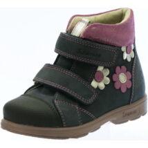 Szamos supinált átmeneti bőrcipő, sötétkék-pink, virágos, 31-35.