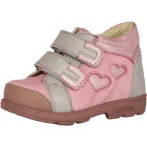 Szamos supinált átmeneti bőrcipő, rózsaszín-szürke, szívecskés, 22, 23.