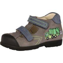 Szamos supinált nyitott bőrcipő két tépőzárral, szürke-kék, kukásautós, 25-30.