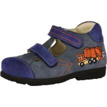 Szamos supinált nyitott bőrcipő két tépőzárral, kék-narancs, kukásautós, 25, 26, 28, 30.