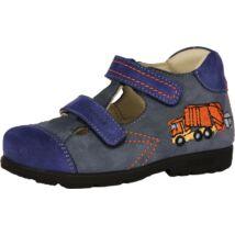 Szamos supinált nyitott bőrcipő két tépőzárral, kék-narancs, kukásautós, 25-30.