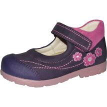 Szamos supinált, nyitott lányka cipő; lila-pink, virágos, 25-30.