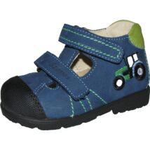 Szamos supinált, két tépőzáras, nyitott fiú cipő, kék, traktoros, 20-24.