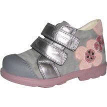 Szamos supinált átmeneti cipő bőr béléssel; szürke-ezüst, csillogó virág dísszel, 22-24.