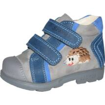 Szamos supinált gyerekcipő bőr béléssel, kék-szürke, sünis, 22-24.