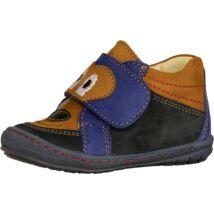 Szamos Kölyök első lépés cipő, kék-barna, kutyusos, 20-24.