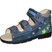 Szamos supinált gyerekszandál két csattal és egy tépőzárral, kék-zöld, csillagos, 31-35.