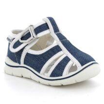 Primigi nyitott vászoncipő csattal, bőr lépésbetéttel,  farmerkék-fehér, 19-24.