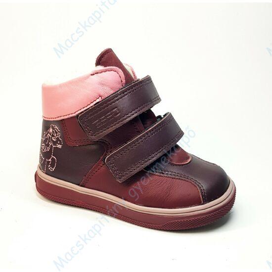 ASSO vízálló bundás cipő, bordó-pink, pónis, 21-24.