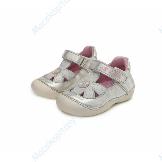 D.D.Step első lépés nyitott cipő, ezüst, virágos, 19-24.