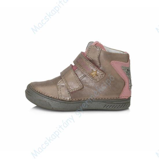 D.D.Step átmeneti  bőrcipő, pezsgő-rózsaszín, 25-30.