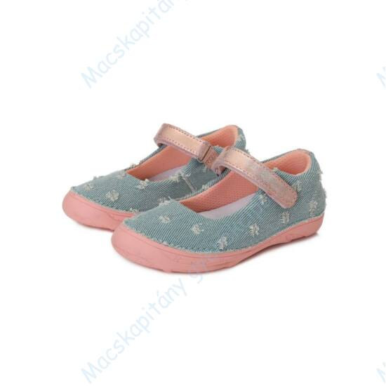 D.D.Step vászon balerina cipő tépőzárral, farmer-rózsaszín, 25-30.
