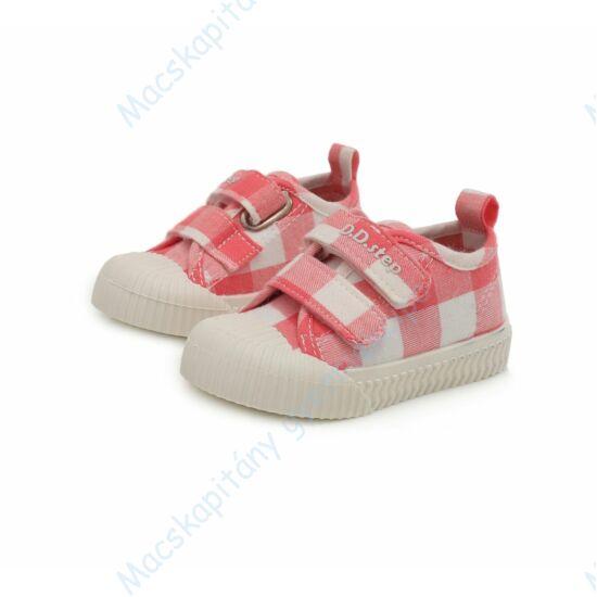D.D.Step vászoncipő két tépőzárral, rózsaszín-fehér, kockás, 20-25.