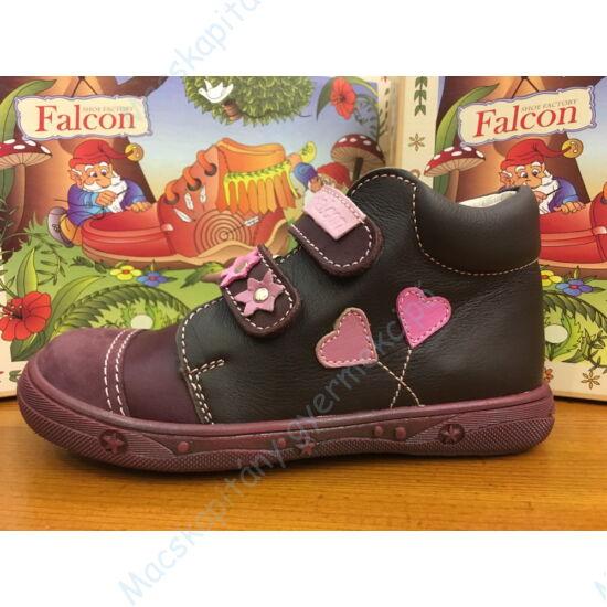 Falcon lányka átmeneti cipő, bordó-fekete, szívecskés, kívül-belül bőr, 27-31.