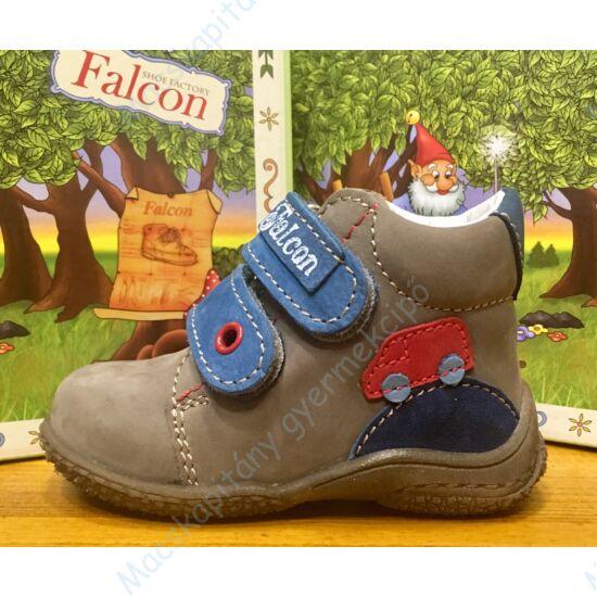 Falcon átmeneti bőrcipő két tépőzárral, szürke-kék, buszos,18-23.