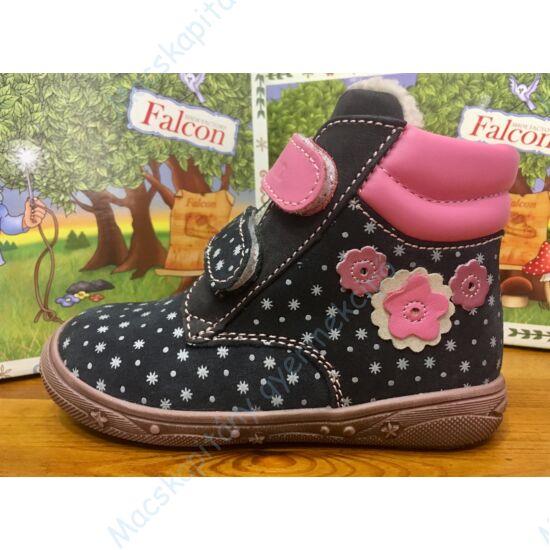 Falcon bundás gyerekcipő, éjkék-rózsaszín, hópelyhes, virágos, 19-26.