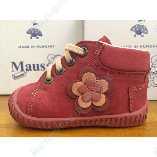 Maus első lépés cipő, málna, virágos.