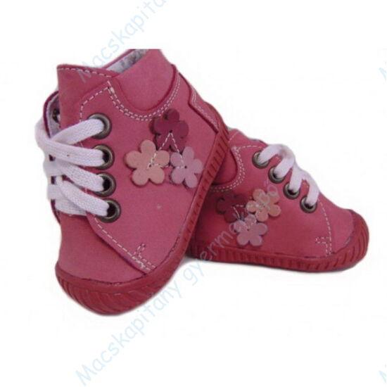 Maus első lépés cipő, sötét rózsa, virágos.