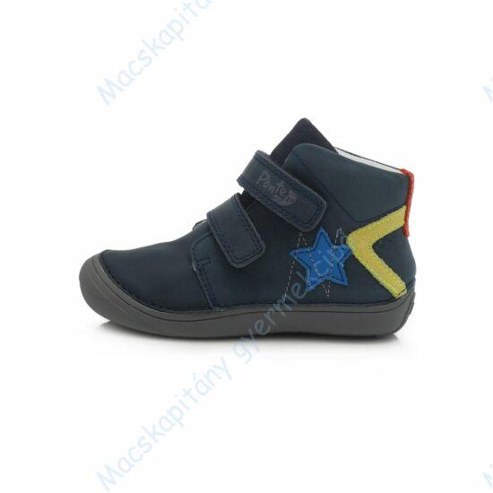 Ponte 20 átmeneti bőrcipő, sötétkék-sárga, csillagos, 24-29.