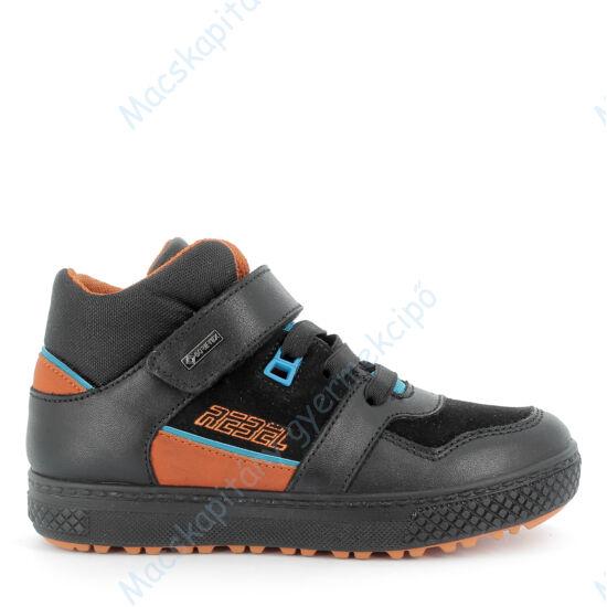 Primigi Gore-tex téli-átmeneti bőrcipő, teljesen vízálló, fekete-narancs, 30-35.