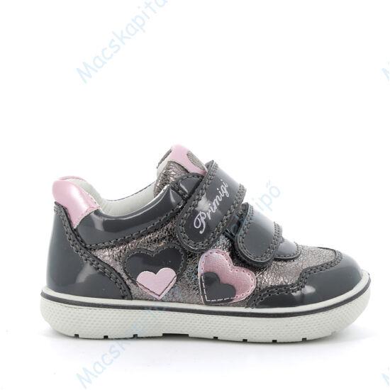 Primigi átmeneti cipő két tépőzárral, bőr belsővel, szürke-ezüst, szívecskés, 25-29.