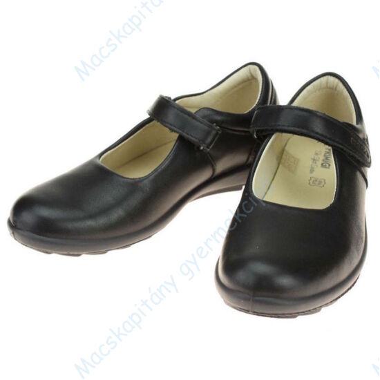Primigi alkalmi bőrcipő lányoknak; tépőzáras, fekete, 25-30.