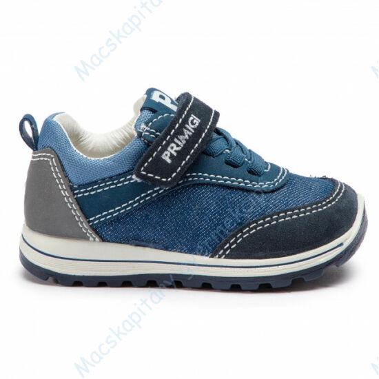 Primigi átmeneti cipő bőr belsővel, elasztikus fűzővel és tépőzárral, farmerkék, 21-22.