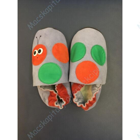 Kukac, puhatalpú cipő, kék-narancs.