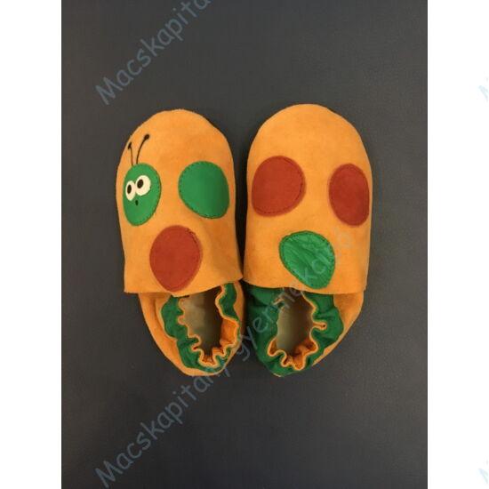 Kukac, puhatalpú cipő, narancs-zöld.