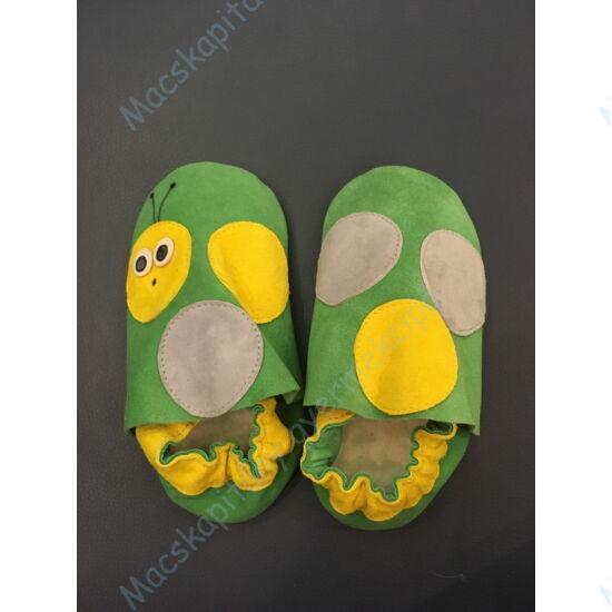 Kukac, puhatalpú cipő, zöld-sárga.