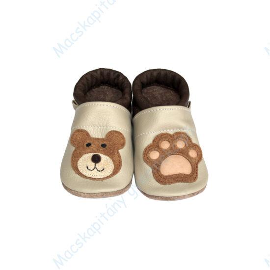 Puhatalpú bőrcipő, 3D maci, 19-26.