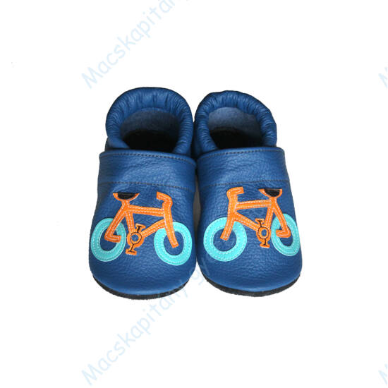 Puhatalpú bőr bébicipő, kék, biciklis, 16-20.