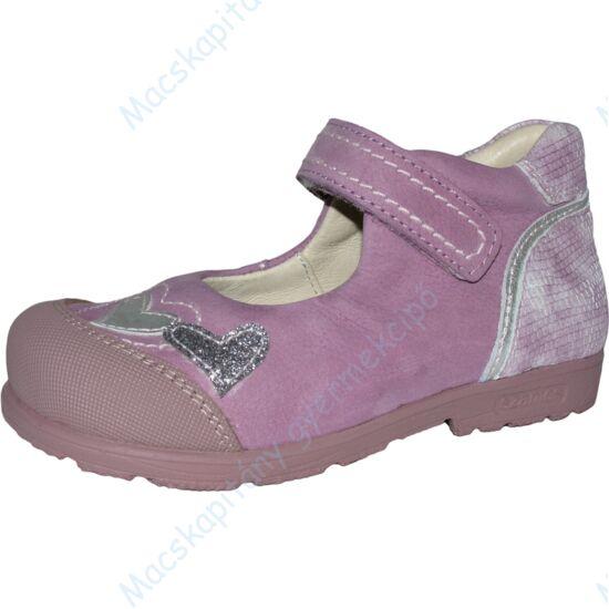 Szamos supinált bőr balerina cipő tépőzárral, orgona-ezüst, szívecskés, 25-30.