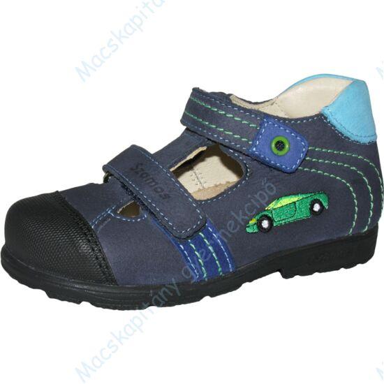 Szamos supinált nyitott bőrcipő, két tépőzárral, világoskék, sportautós, 25-30.
